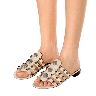 Studded Multi-Straps Beach Party Flat Silde Sandals Wide Width