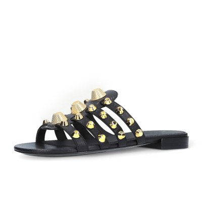 Black Studded Multi-Straps Beach Party Flat Silde Sandals Wide Width