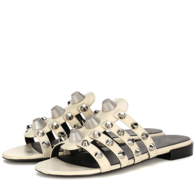 White Studded Multi-Straps Beach Party Flat Silde Sandals Wide Width