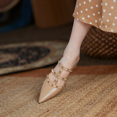 Nude Studded T-Strap Heeled Mules Pointed Toe Backless Rivet Shoes Low Heels