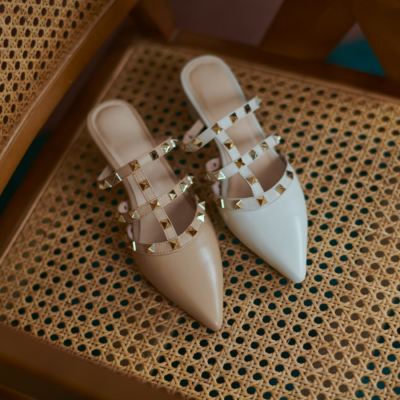 Studded T-Strap Heeled Mules Pointed Toe Backless Rivet Shoes Low Heels
