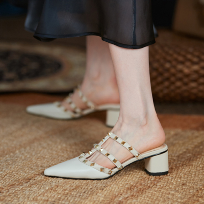 White Studded T-Strap Heeled Mules Pointed Toe Backless Rivet Shoes Low Heels