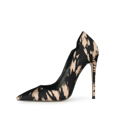 Stylish Quilted Zebra Print Pumps Heels Cut Out Pointed Toe Heeled Shoes