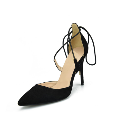 Black Suede Lace Up Ankle Strap D'orsay Woman Heeled Pumps
