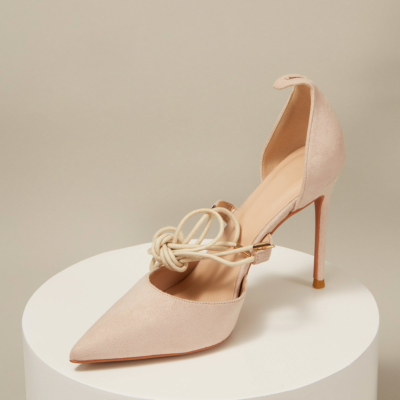 Nude Suede Lace Up Ankle Strap D'orsay Woman Heeled Pumps