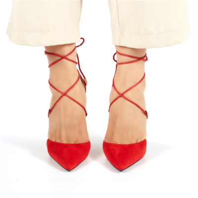 Red Suede Lace Up Ankle Strap D'orsay Woman Heeled Pumps