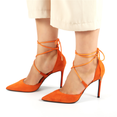 Orange Suede Lace Up Ankle Strap D'orsay Woman Heeled Pumps