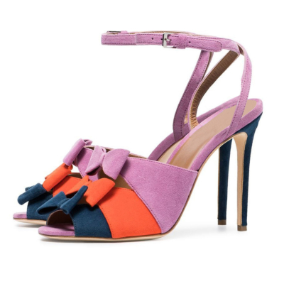 Suede Peep Toe Bowknot Ankle Strap Stiletto Heel Sandals for Party