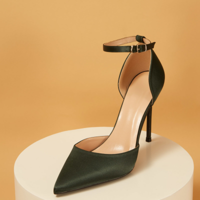 Green Satin Pointed Toe D'orsay Ankle Strap Stiletto Heels Pumps