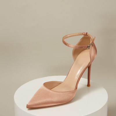 Satin Pointed Toe D'orsay Ankle Strap Stiletto Heels Pumps