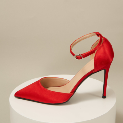 Red Satin Pointed Toe D'orsay Ankle Strap Stiletto Heels Pumps