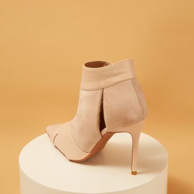 Suede Pointed Toe Stiletto Heels Velcro Ankle Boots