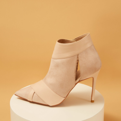 Nude Suede Pointed Toe Stiletto Heels Velcro Ankle Boots