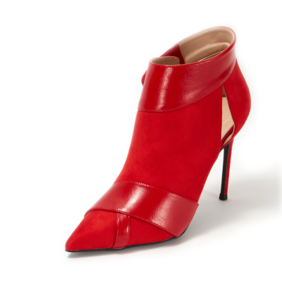 Red Suede Pointed Toe Stiletto Heels Velcro Ankle Boots