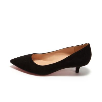 Black Suede Pointy Toe Kitten Heel Work Pumps Low Heels