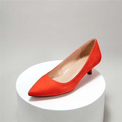 Orange Suede Pointy Toe Kitten Heel Work Pumps Low Heels