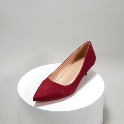 Burgundy Suede Pointy Toe Kitten Heel Work Pumps Low Heels