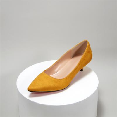 Yellow Suede Pointy Toe Kitten Heel Work Pumps Low Heels