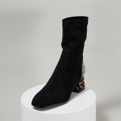 Black Fashion Suede Sock Boots Crystal Chunky Heel Ankle Boot