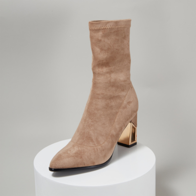 Suede Sock Boots Hollow-out Chunky Heel Ankle Boots