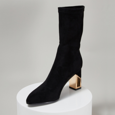 Black Suede Sock Boots Hollow-out Chunky Heel Ankle Boots