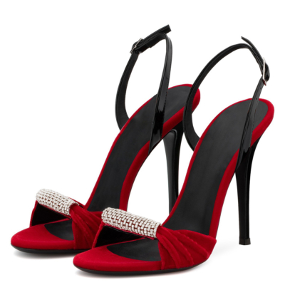 Suede Stiletto Heel Sandals Pumps Peep Toe Crystal Shoes with Buckle
