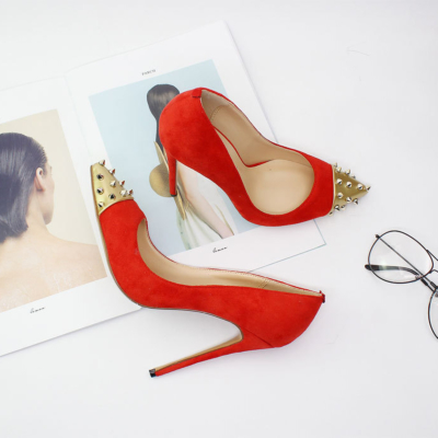Red Suede Stilettos Office Pumps Studded Pointed Toe Women Shoes with 5 inch Heels