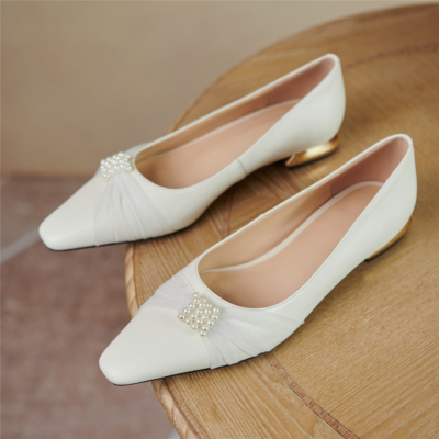 White Almond Toe Pearls Mesh Flats Leather Shoes Low Heels