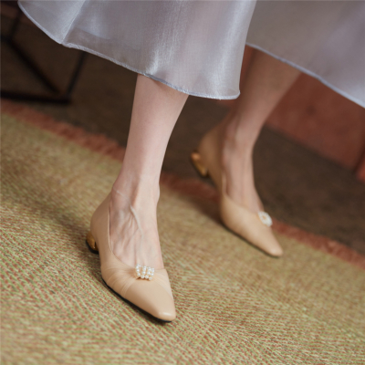 Nude Almond Toe Pearls Mesh Flats Leather Shoes Low Heels