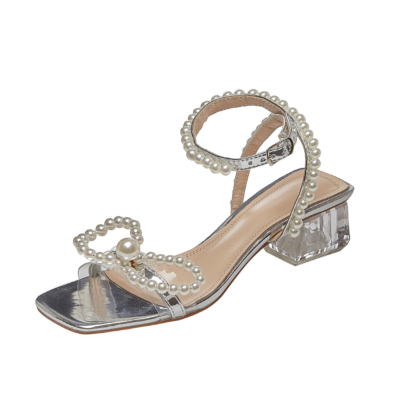 Silver Ankle Strap Pearl Sandals Clear Chunky Heel Wedding Sandals with Bow