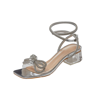 Summer Ankle Strap Buckle Sandals Clear Chunky Heel Wedding Sandals with Bow