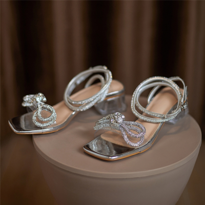 Silver Ankle Strap Sandals Clear Chunky Heel Wedding Crystal Sandals with Bow