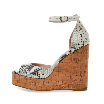 Snake Print Ankle Strap Wedge High Heel Beach Sandals with Peep Toe