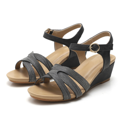 Black Summer Casual Metallic Buckle Low Wedge Sandals Beach Shoes