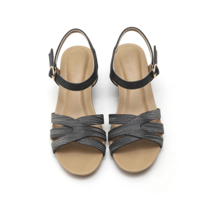 Summer Casual Metallic Buckle Low Wedge Sandals Beach Shoes