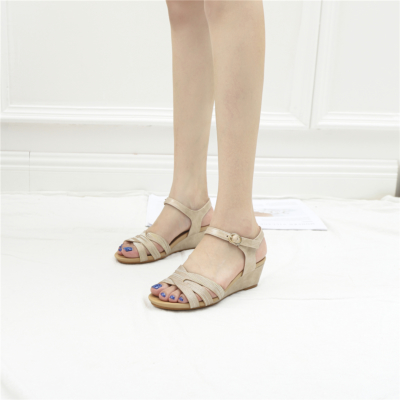 Gold Summer Casual Metallic Buckle Low Wedge Sandals Beach Shoes
