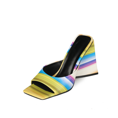 Summer Colorful Striped Slide Sandals Chunky Heels for Ladies