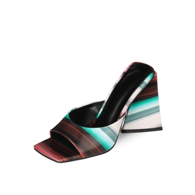Brown Colorful Striped Slide Sandals 4 inch Chunky Heels for Ladies