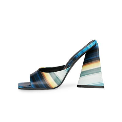 Blue Summer Colorful Striped Slide Sandals Chunky Heels for Ladies