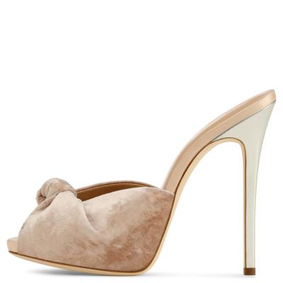 Nude Velvet Knot Mule Heels Party Sandals Stiletto Women Shoes