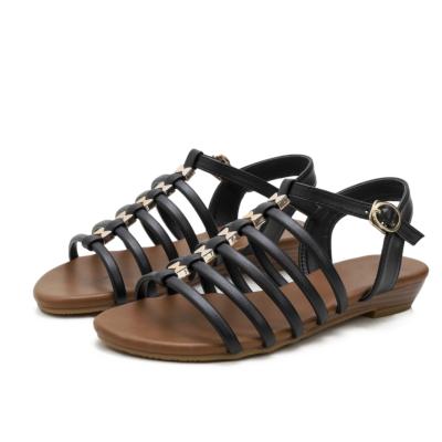 Summer Open Toe Multi-Strap Buckle Low Heel Gladiator Sandals