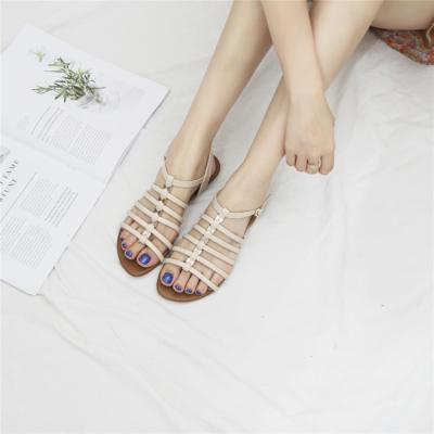 Beige Summer Open Toe Multi-Strap Buckle Low Heel Gladiator Sandals