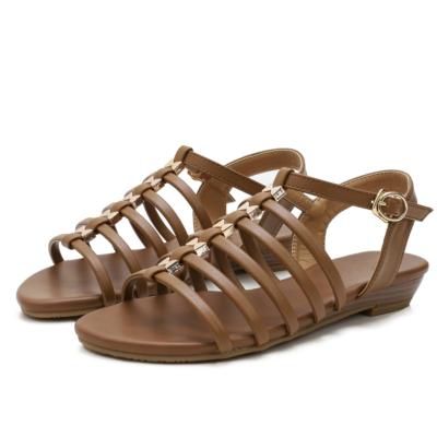 Brown Summer Open Toe Multi-Strap Buckle Low Heel Gladiator Sandals