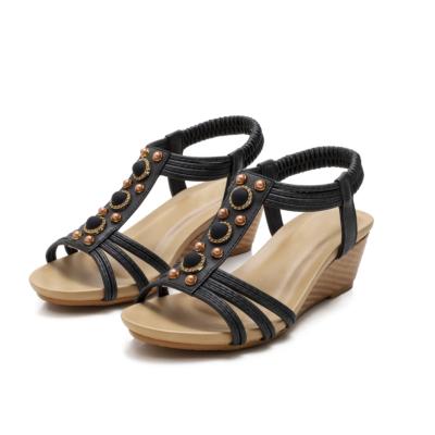 Summer Pearl Embellished T-Strap Wide Fit Wedge Sandals