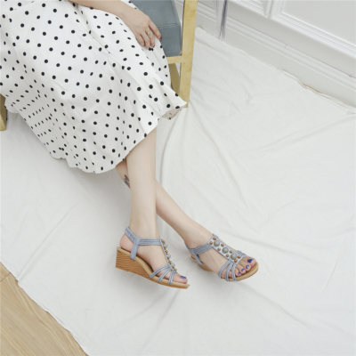 Blue Summer Pearl Embellished T-Strap Wide Fit Wedge Sandals