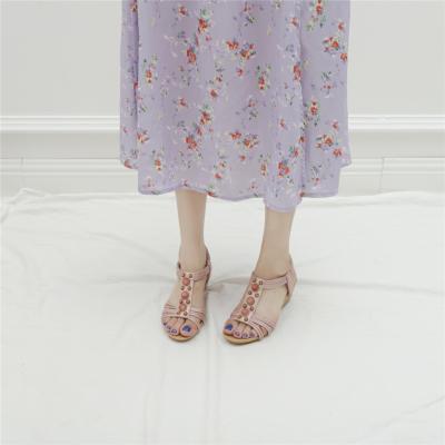 Pink Summer Pearl Embellished T-Strap Wide Fit Wedge Sandals