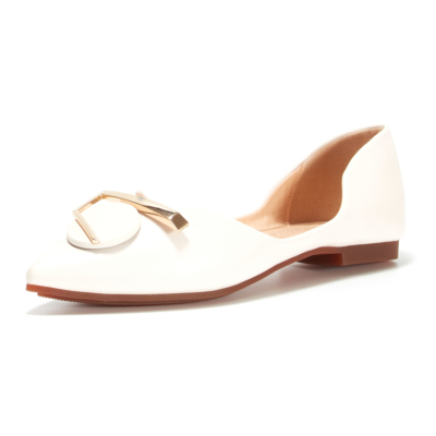 Summer Pointed Toe Soft Flats D'orsay Pumps Work Shoes with Metallic Buckle