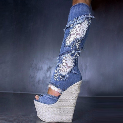 Lace and Denim Wedge Heel Over The Knee Boots
