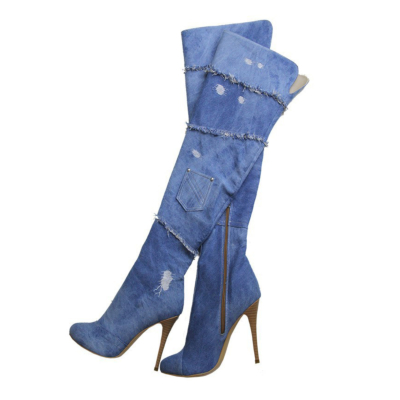 Summer Sexy Denim High-Heel Over The Knee Boots