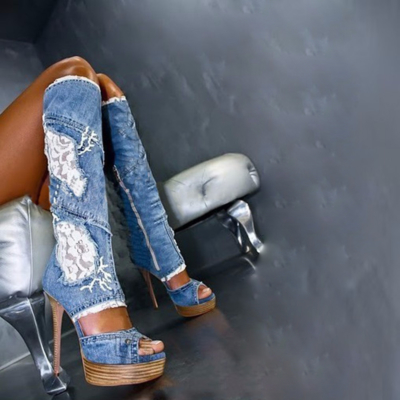 Lace and Denim Platform Stiletto Heel Over The Knee Boots